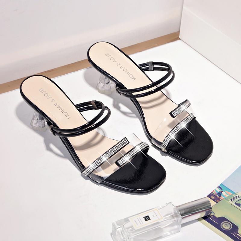 粗跟一鞋两穿凉鞋女搭配裙子穿的鞋子夏季透明仙女百搭一字凉拖鞋百搭 精挑细选