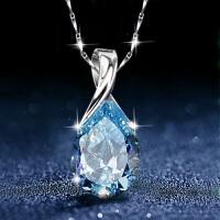 S925纯银蓝水晶项链锁骨链韩版吊坠女士送女友生日七夕情人节礼物