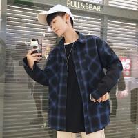 秋冬长袖韩版宽松衬衣青年贴布长袖衬衫格子青春活力男衬衫