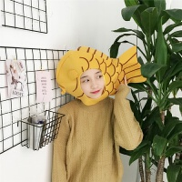 日系卡通少女毛绒可爱甜美小鱼头套帽子韩国网红软妹卖萌拍照道具 小鱼头套 M(56-58cm)