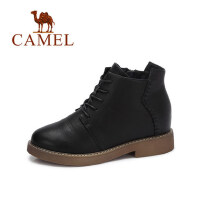 camel 骆驼女鞋 冬季新款 英伦系带短靴子女 简约经典鞋子