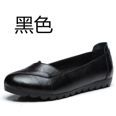 【头层牛皮】软底皮鞋女单鞋中老年女鞋平底平跟舒适妈妈鞋