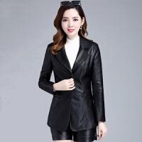 皮衣女2019韩版修身显瘦中长款秋季女装女士大码皮外套女潮 黑色 02款 XL (80-95斤)