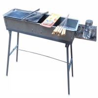 家用烧烤炉 野外烤架迷你便捷碳烤炉 户木炭 60厘米长套装