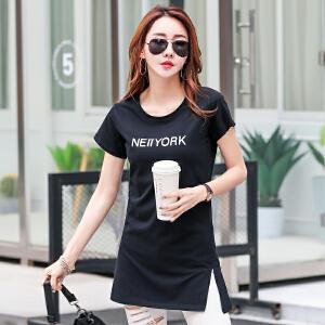 卡茗语短袖上衣女夏2017新款韩版百搭休闲t恤女 中长款修身体恤打底衫潮