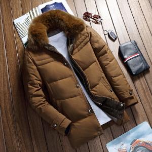 獭兔领羽绒服新款工作服装羽绒服男士中年商务加厚保暖爸爸爷爷老人装中长款羽绒大衣外套