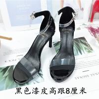欧美2019夏季新款一字跟透明露趾黑色性感细跟超高跟凉鞋女仙女风