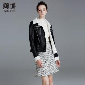 颜域品牌女装2017秋冬装新款欧美时尚翻领短款保暖皮毛外套上衣