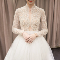 复古婚纱礼服新娘2018新款立领欧美显瘦长袖蕾丝公主梦幻拖尾