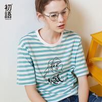 初语夏季新款  迪士尼公主印花条纹短袖T恤