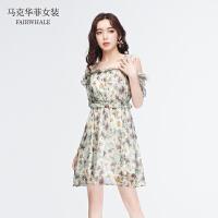 马克华菲女装2021夏季新品小雏菊印花连衣裙吊带露肩性感连衣裙