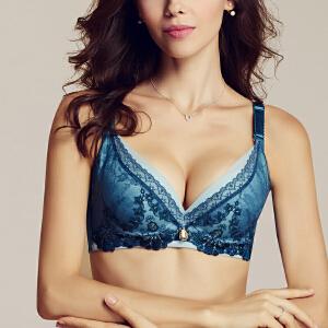 依曼丽新款女士调整型聚拢文胸 性感深V集中刺绣内衣胸罩4211
