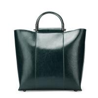 艾欧尼莎 欧美大包2018新款时尚大气简约女士单肩斜跨包真皮女包油蜡手提包
