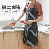韩版时尚围裙简约无袖棉麻布艺家居厨房工作服防油男女罩衣