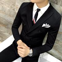 秋男士修身西服韩版青年宴会礼服新郎结婚三件套西装休闲西服套装