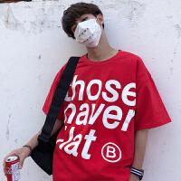 个性英文字母大红色T恤夏天男士短袖运动服宽松型气质汗衫街舞蹈