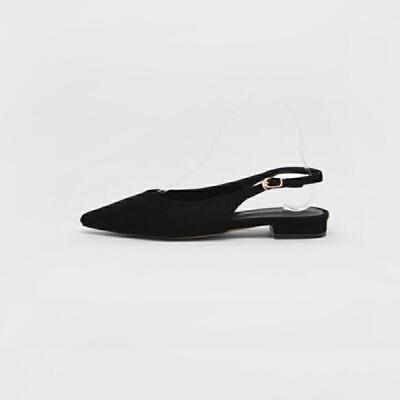 2019新款欧美V口包头浅口尖头后空凉鞋女黑色单鞋平跟平底女鞋夏 黑色