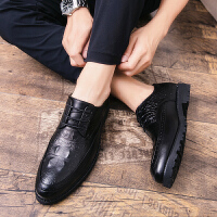 男鞋2019新款布洛克英伦商务休闲皮鞋男士韩版潮百搭内增高发型师