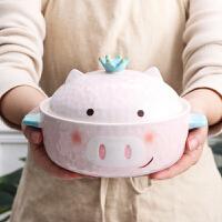 带盖碗盘碟餐具套装家用陶瓷汤碗单个可爱创意个性大碗