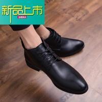 新品上市马丁靴男靴子靴内增高冬季英伦型师高帮皮鞋尖头真皮短靴