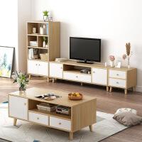 【1件3折 领券】北欧小户型电视柜茶几组合套装客厅卧室简约现代实木电视机柜简易