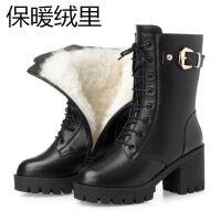短靴女冬季中筒靴女鞋女靴子粗跟马丁靴女高跟鞋皮靴加绒女士棉鞋 黑色 加绒
