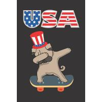 【预订】USA: Dabbing Pug Dog Skateboarding Uncle Sam 4th of Jul