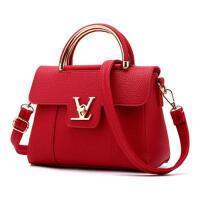 茉蒂菲莉 单肩包 欧美时尚舒适百搭手提包女士包包pu女包纯色红色本命年黑色金属吊坠小方包
