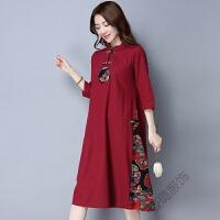 棉麻连衣裙民族风女装中国风复古印花立领中长款宽松裙子
