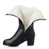 №【2019新款】冬天穿的中筒女靴中跟粗跟加绒女士棉靴大码女靴子