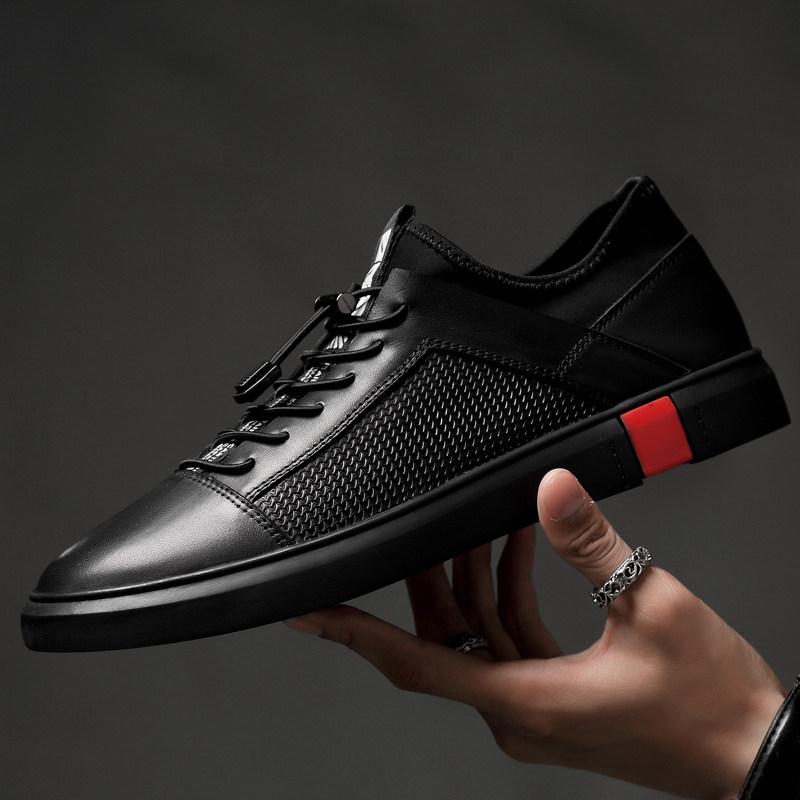 品牌夏季大码男鞋松紧带46透气47休闲皮鞋板鞋真皮镂空潮鞋纯黑色鞋子