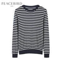 【199元任意2件专区】太平鸟男装 冬新款青年蓝白条纹纯棉针织衫毛衫