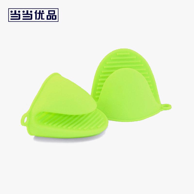 当当优品 厨房专用防烫防滑隔热耐高温硅胶手套 绿色 2只装 当当自营 选材健康 厚实耐用 防滑条纹 柔软不易变形