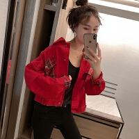 牛仔外套女夏网红时尚休闲短款上衣长袖百搭红色夹克街头流行女装 红色