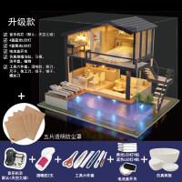 diy小屋手工制作房子大型公寓别墅模型女生女孩玩具创意生日礼物 +防尘罩