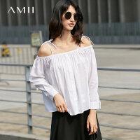 【折后价:101元/再叠加优惠券】Amii秋装宽松纯色松紧一字领肩带衬衫