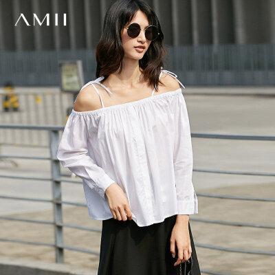【到手价:109元】Amii秋装宽松纯色松紧一字领肩带衬衫 .
