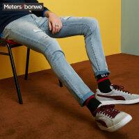 美特斯邦威牛仔裤男士秋装黑色潮流破洞加厚长裤子青年学生韩版