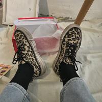 豹纹帆布鞋女2019春夏网红小脏鞋韩国做旧脏鞋平底单鞋系带休闲鞋夏季百搭鞋 豹纹