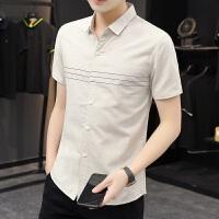 verhouse 免烫短袖衬衫男夏季新款修身百搭尖领衬衣青年男士休闲开衫上衣