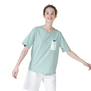 初语夏装新款圆领短袖宽松字母T恤女纯棉刺绣休闲百搭文艺上衣潮