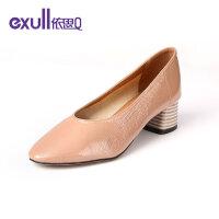 【依思q冬上新 限时特惠】依思q粗跟单鞋女韩版方头粗中跟复古鞋女鞋18150104