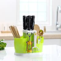 沥水架 创意厨房多功能塑料带刀架筷子筒篓餐具架悬挂式刀叉勺收纳架