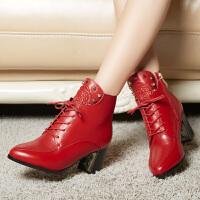 娜箐箐秋冬头层牛皮欧美红色女靴马丁靴粗跟中跟系带真皮短靴女皮靴