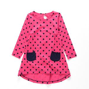 【尾品汇 3件3折 到手价:29.7元】水孩儿souhait童装女童春季连衣裙宽松纯棉针织裙式点点衫AOCQH202