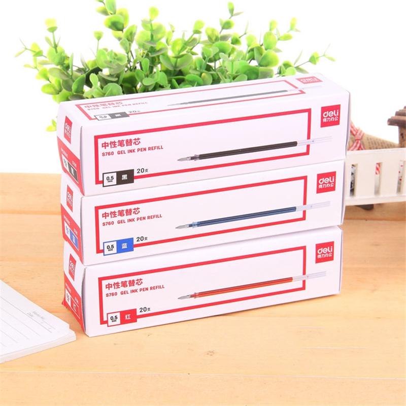 中性笔芯得力S760水笔芯办公签字笔芯 0.5mm子弹头笔替芯学生学习文具书写做功课写字商务黑色红色蓝色 20支/盒