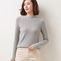 秋冬季新款女士镂空针织羊毛衫圆领套头时尚毛衣洋气百搭打底衫