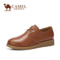 Camel/骆驼女鞋 春夏新款 舒适风潮 复古简约头层牛皮圆头系带单鞋