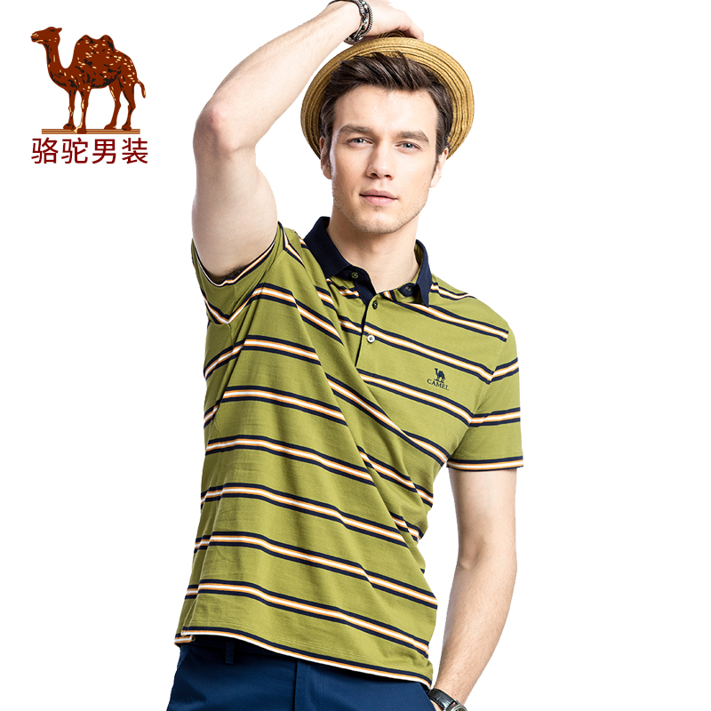 骆驼男装 夏季新款翻领POLO绣标商务休闲条纹短袖T恤衫男