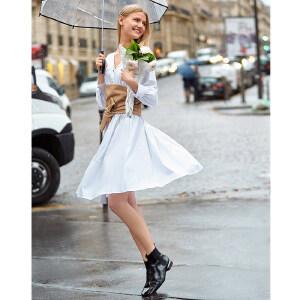 【到手价:161.9元】Amii极简很仙的法式连衣裙女2019春季新洋气全棉V领收腰显瘦裙子